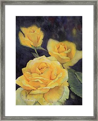 Yellow Rose Framed Print by Leah Wiedemer
