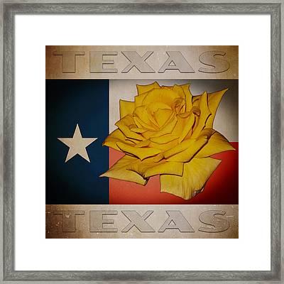 Yellow Rose On Texas Framed Print