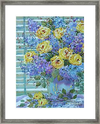 Yellow Roses And Lilacs Framed Print