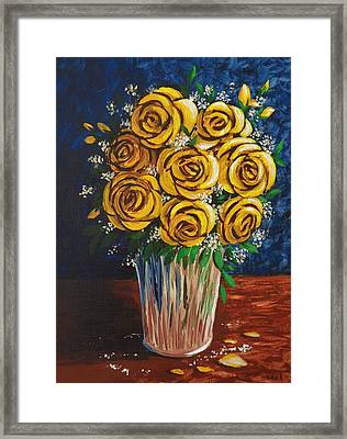 Framed Print featuring the painting Yellow Roses by Katherine Young-Beck