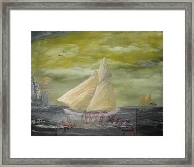 Yellow Sail Boat Framed Print by M Bhatt