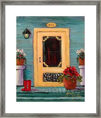 Yellow Screen Door   Framed Print by Glenda Grubbs