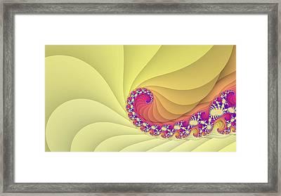 Yellow Spiral Fractal Art Framed Print by Marina Likholat