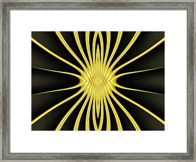 Yellow Starburst On Black Framed Print by Myxtl Turnipseed