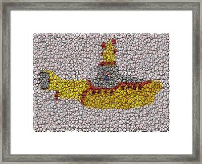 Yellow Submarine Bottle Cap Mosaic Framed Print by Paul Van Scott