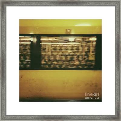 Yellow Subway Train Framed Print by Ivy Ho
