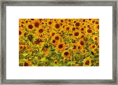 Yellow Sunflowers Field Art Painting Framed Print by Wall Art Prints