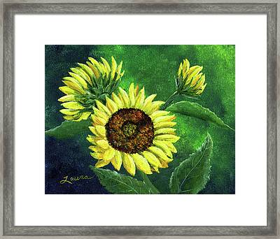 Yellow Sunflowers On Green Framed Print by Laura Iverson