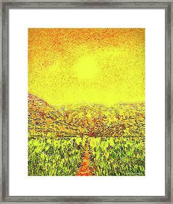 Framed Print featuring the digital art Yellow Sunlit Path - Marin California by Joel Bruce Wallach