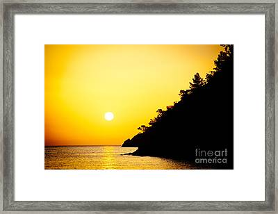 Yellow Sunrise Seascape And Sun Artmif  Framed Print by Raimond Klavins