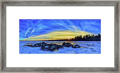 Yellow Sunset At Meddybemps Framed Print by ABeautifulSky Photography
