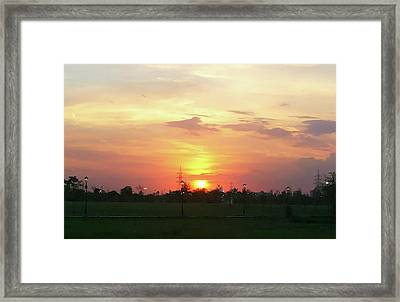 Yellow Sunset At Park Framed Print