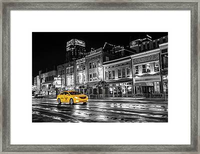 Framed Print featuring the photograph Yellow Taxi Cab On Lower Broadway - Nashville Tennessee by Gregory Ballos