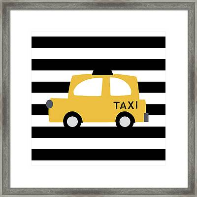 Yellow Taxi With Stripes- Art By Linda Woods Framed Print