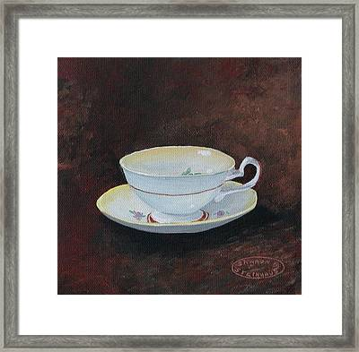 Yellow Teacup Framed Print by Sharon Steinhaus