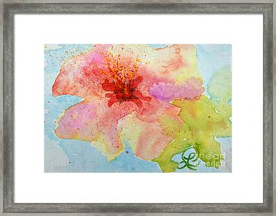 Yellow Tinged Hibiscus Framed Print