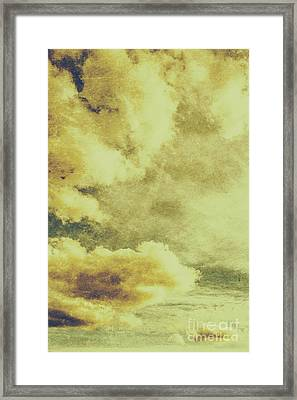 Yellow Toned Textured Grungy Cloudscape Framed Print