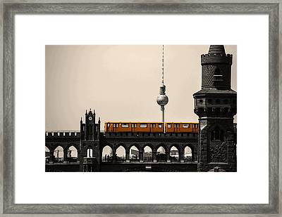 Yellow Train And A Tower Framed Print