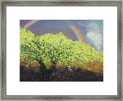 Yellow Tree And Purple Sky Framed Print by Suzanne  Marie Leclair