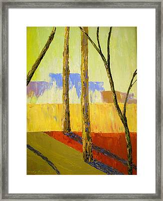 Yellow Trees Framed Print by Art Nomad Sandra  Hansen