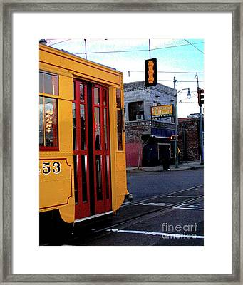 Yellow Trolley At Earnestine And Hazels Framed Print