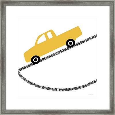 Yellow Truck On Road- Art By Linda Woods Framed Print