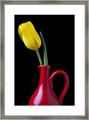Yellow Tulip In Red Pitcher Framed Print by Garry Gay
