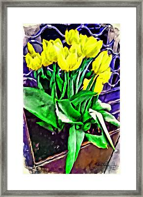 Framed Print featuring the painting Yellow Tulips by Joan Reese