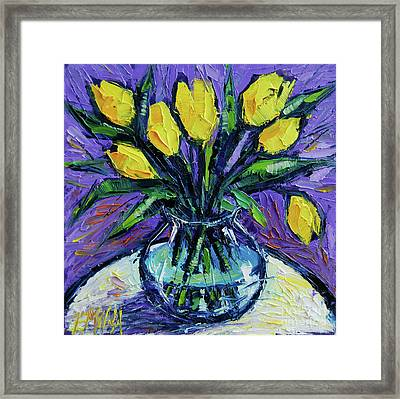 Yellow Tulips On White Table - Impasto Etude Framed Print by Mona Edulesco