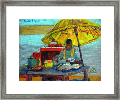 Yellow Umbrella Framed Print by Art Nomad Sandra  Hansen