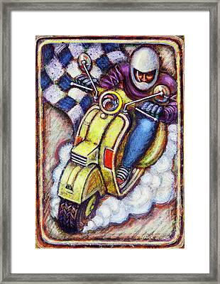 Yellow Vespa Framed Print