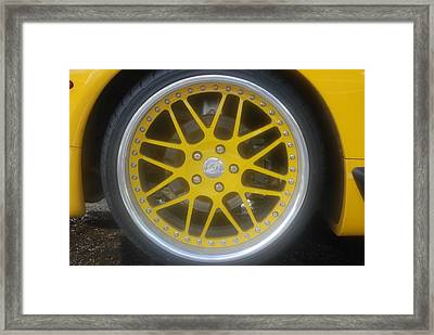 Yellow Vette Wheel Framed Print by Rob Hans