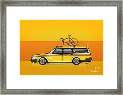 Yellow Volvo 245 Wagon With Roof Rack And Vintage Bicycle Framed Print by Monkey Crisis On Mars