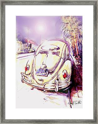Vw Beetle On The Street Framed Print by Geoff Latter