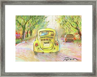 Yellow Vw Framed Print by Ron Wilson