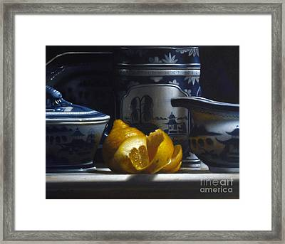 Yellow White Blue Framed Print by Larry Preston