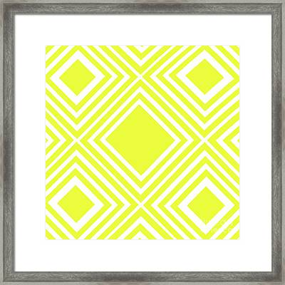 Yellow White Pattern By Kaye Menner Framed Print