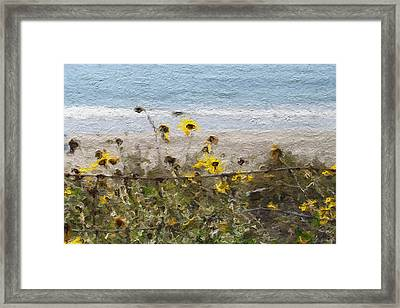Yellow Wildflowers- Art By Linda Woods Framed Print by Linda Woods