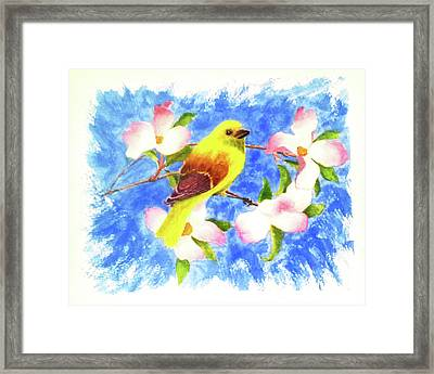 Yellow Winged Framed Print by Darrell Mcgahhey