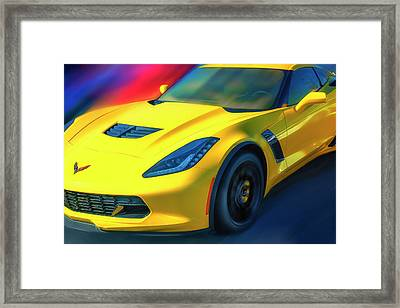 Yellow Z06 Supercharged Framed Print by Larry Helms