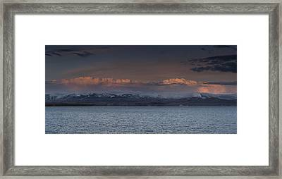 Yellowstone Lake At Sunset Framed Print