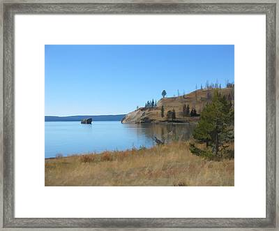 Framed Print featuring the digital art Yellowstone Lake Se by Gary Baird