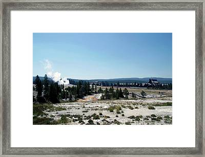 Yellowstone Park A View Of Old Faithful Waking Up Framed Print by Thomas Woolworth