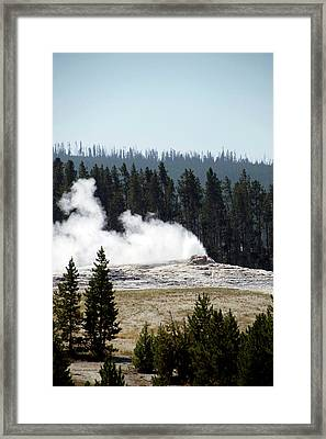 Yellowstone Park A View Of Old Faithful Waking Up Vertical Framed Print by Thomas Woolworth