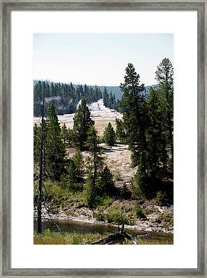 Yellowstone Park Quite Time With Old Faithful Framed Print by Thomas Woolworth