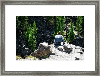 Yellowstone Park Sitting High At Firehole Falls In August Framed Print by Thomas Woolworth