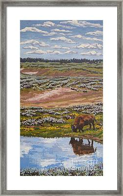 Framed Print featuring the painting Yellowstone Reflections by Erin Fickert-Rowland