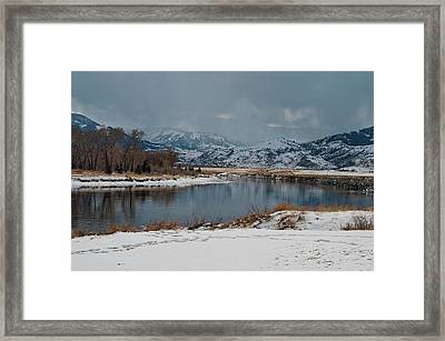 Yellowstone River In Light Snow Framed Print