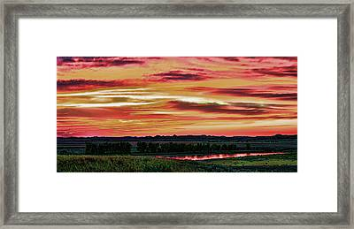 Yellowstone River Wildfire Sunset Framed Print