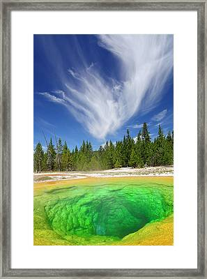 Framed Print featuring the photograph Yellowstone's Morning Glory Pool Pool And Awesome Clouds by Bruce Gourley